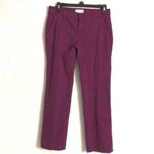 Lila Ryan sateen cropped pants  plum size 2